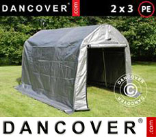 Portable garage PRO 2x3x2 m PE, with ground cover, Grey