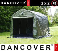 Portable garage PRO 2x2x2 m PE, with ground cover, Green grey