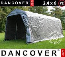 Portable garage PRO 2.4x6x2.34 m PE, Grey