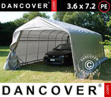 Portable garage PRO 3.6x7.2x2.68 m PE, with ground cover, Grey