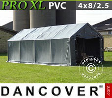 Portable garage PRO 4x8x2.5x3.6 m, PVC, Grey