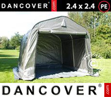 Portable garage PRO 2.4x2.4x2 m PE, with ground cover, Grey
